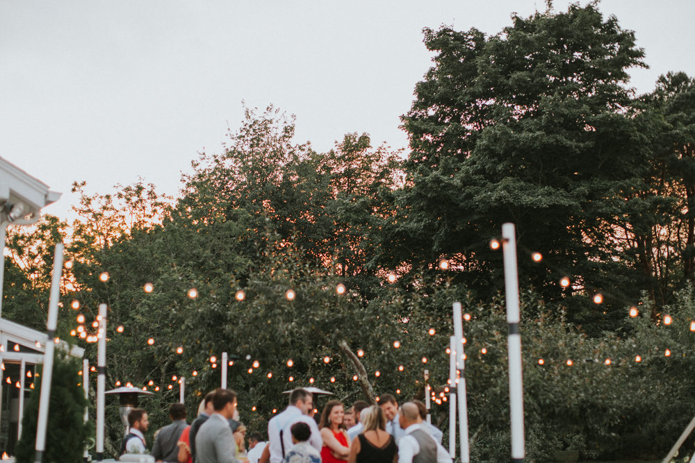outdoor summer wedding reception apple trees bistro lighting