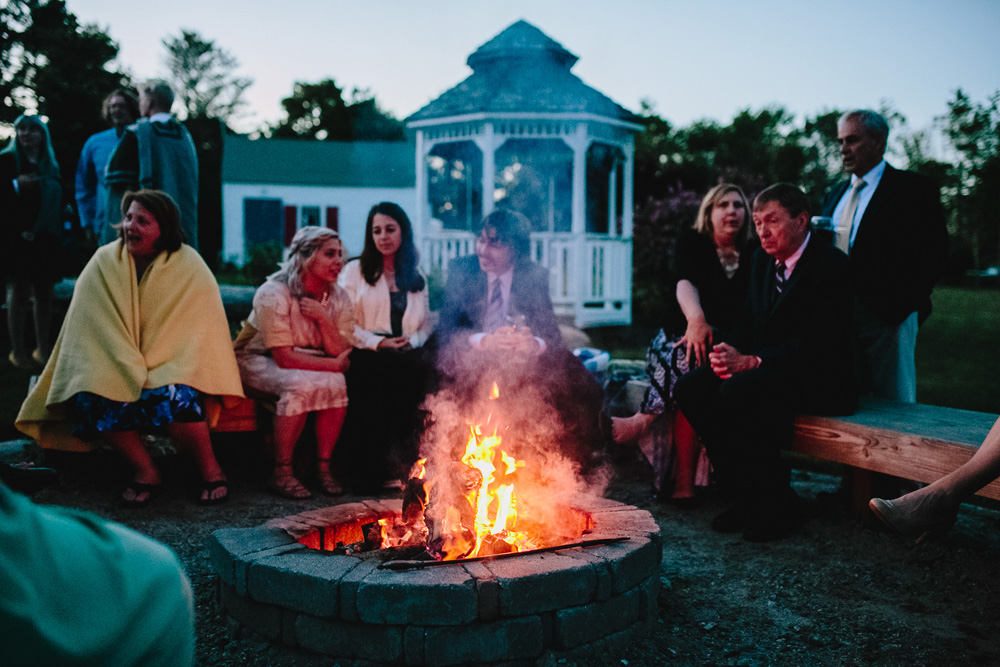 maine gazebo fire pit wedding reception