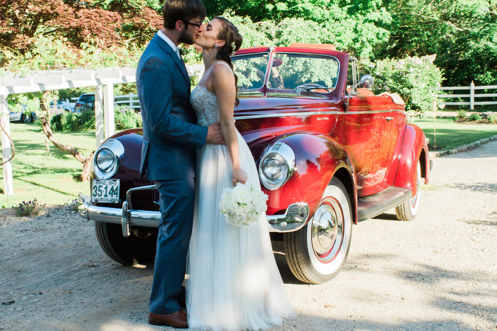 antique getaway car maine wedding