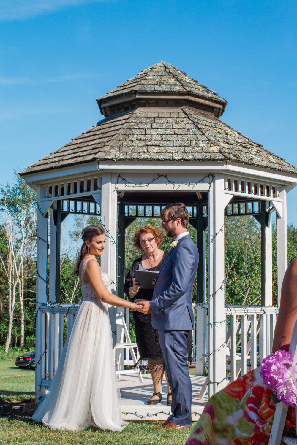 gazebo ceremony outdoor maine summer wedding