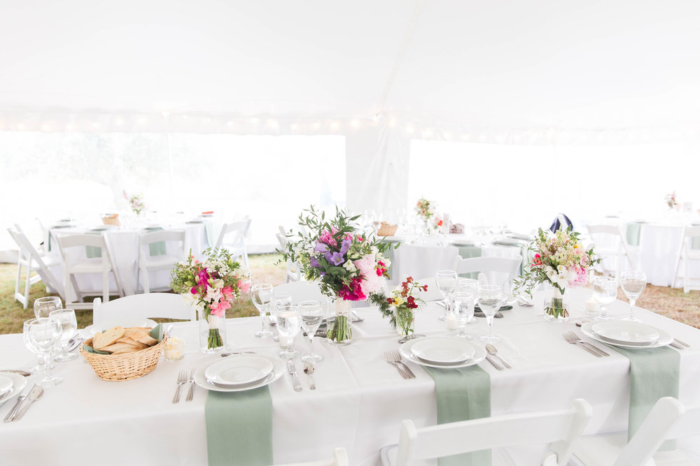 classic preppy tented wedding reception