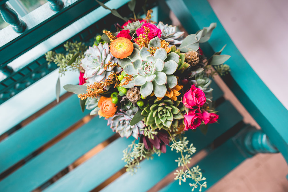 bright bouquet with succulents maine wedding