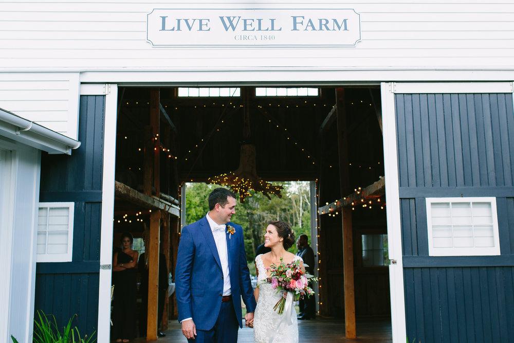 newlywed portait maine wedding farm