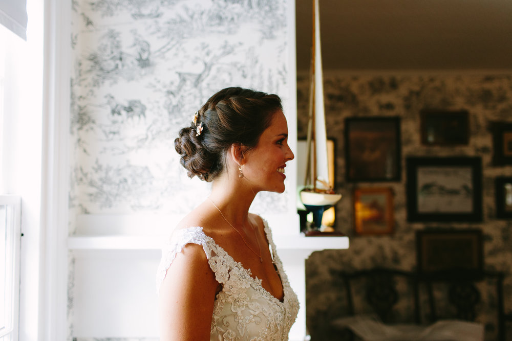 bridal portrait farmhouse maine coast