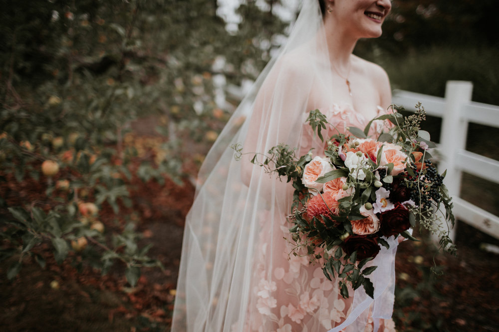 pink wedding dress outdoor ceremony