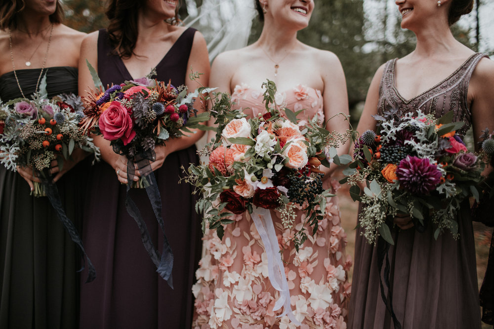 plum blackberry blush wedding floral bouquets
