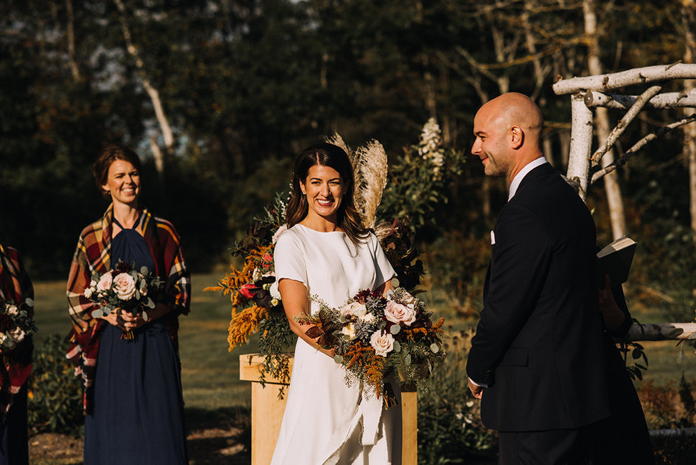 fall outdoor wedding ceremony mid coast maine