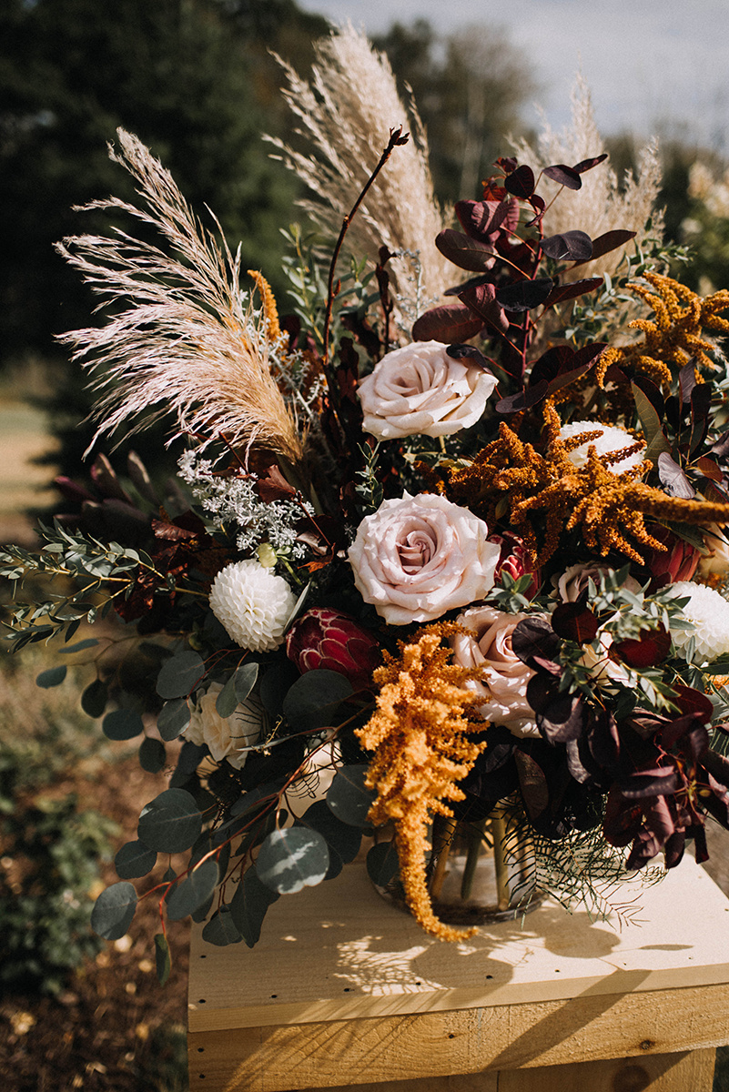 fall autumn floral arrangement maine wedding