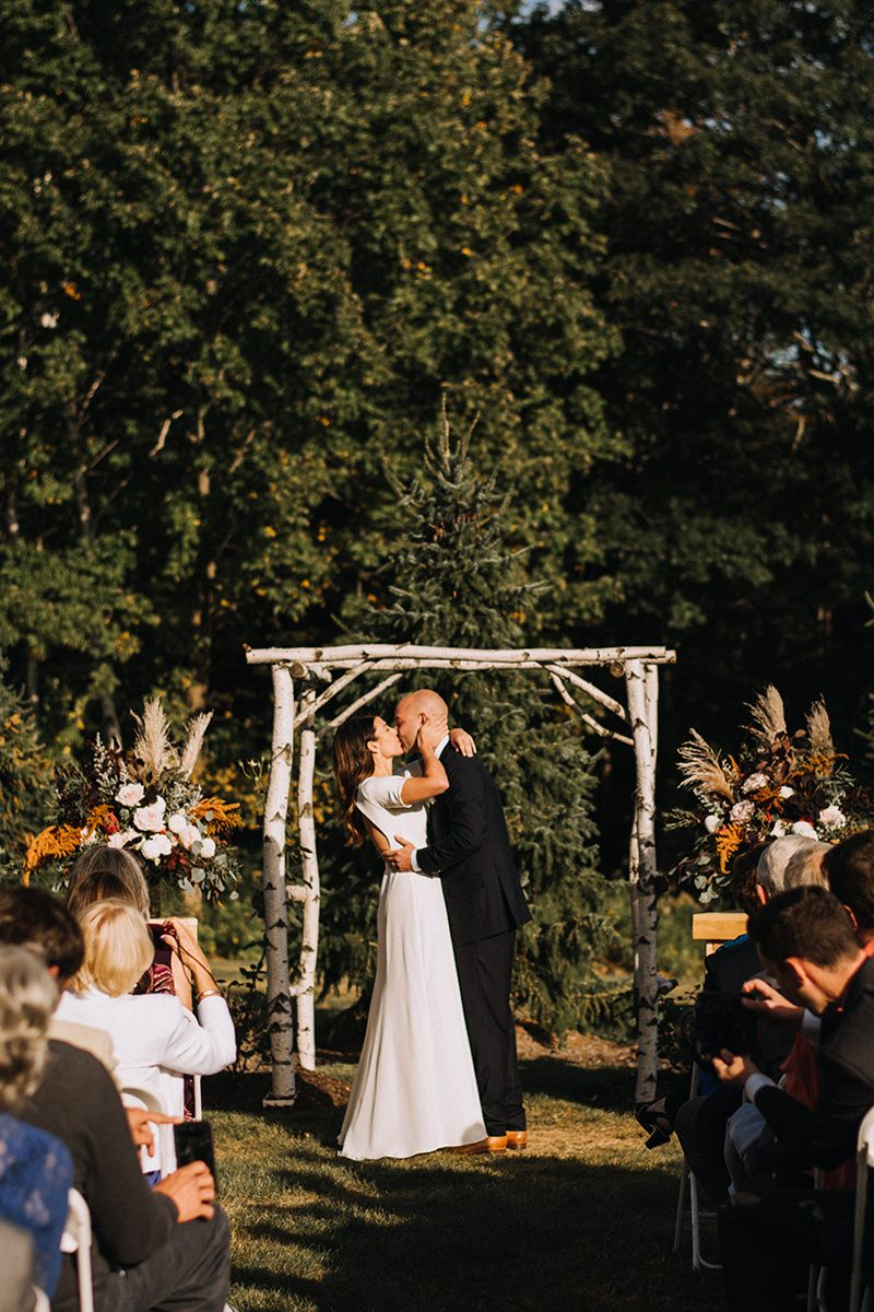 outdoor fall ceremony birch arbor