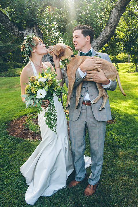 outdoor garden wedding with dog in maine