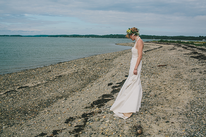 beach wedding portraits flower crown