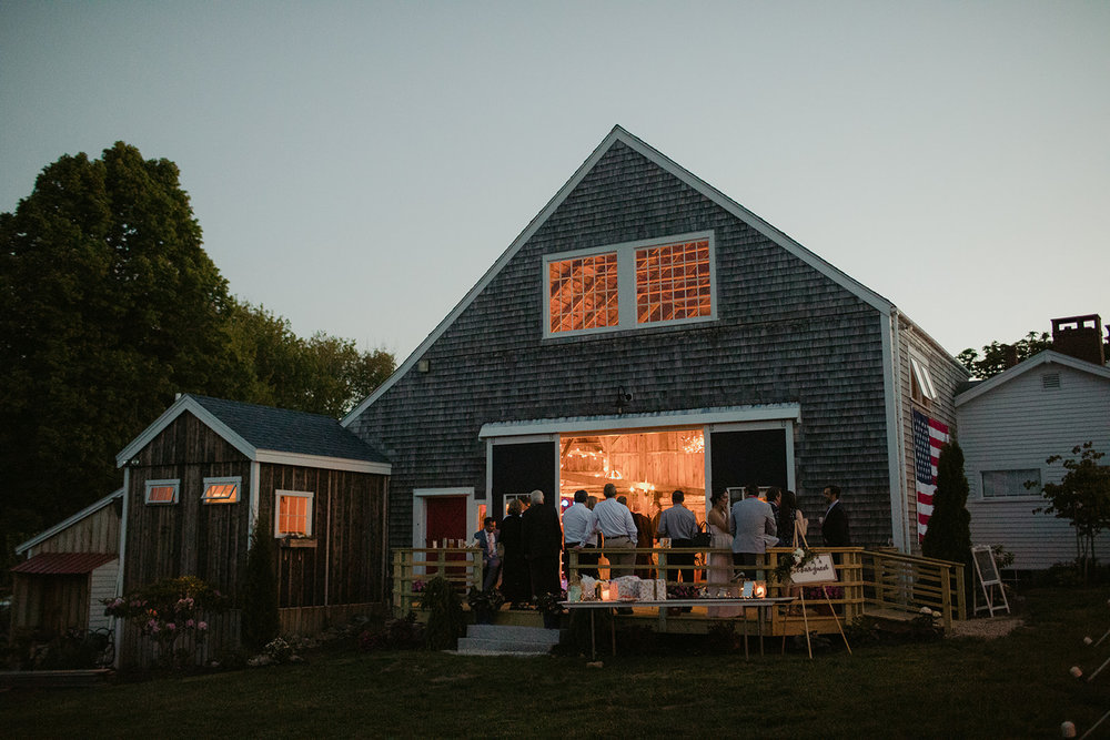summer night wedding party maine barn