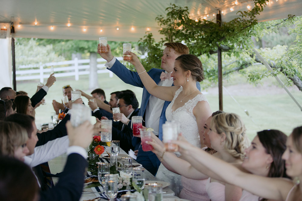 wedding toast coastal maine tent