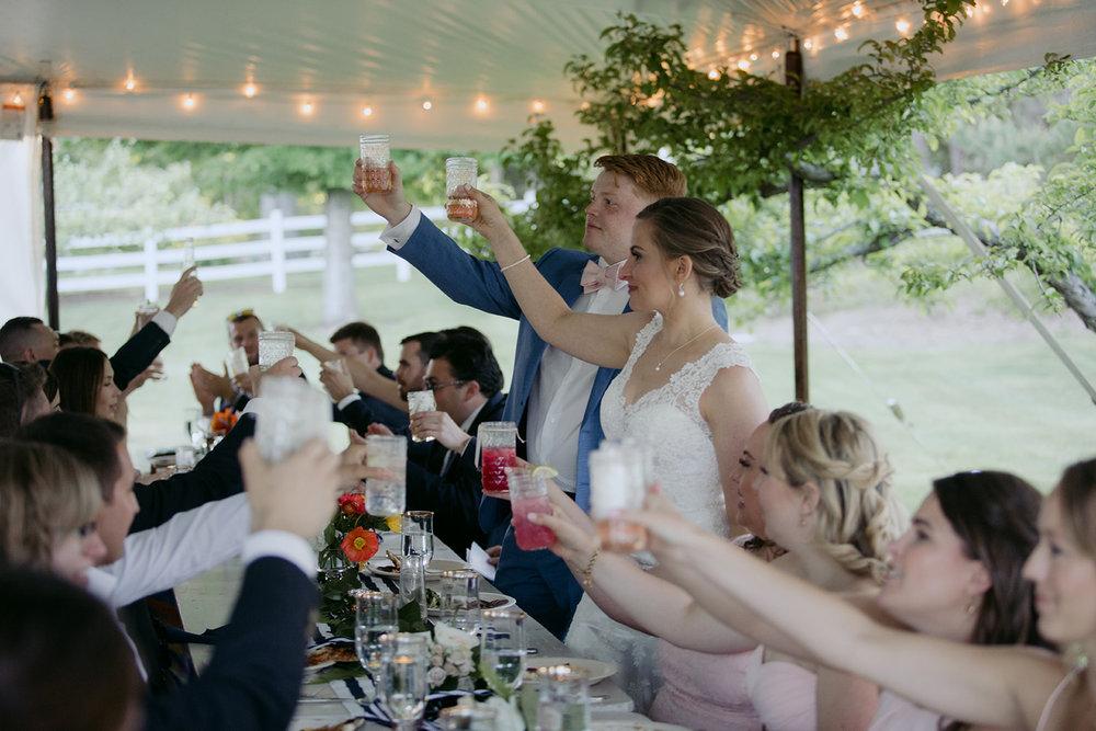 wedding toast coastal maine tent