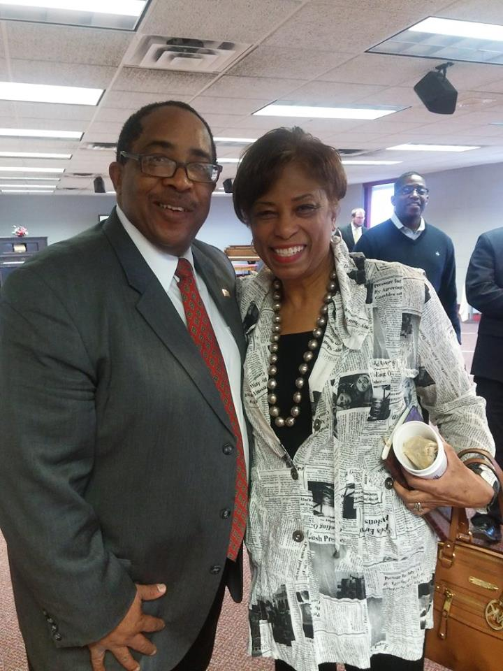 U.S. Congresswoman Brenda Lawrence, D-Southfield and Anthony Turner - SBEV Development Director at the Broome Center discusing the Flint Water Crisis