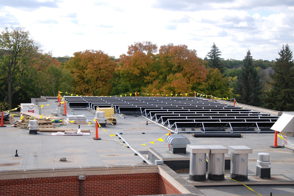 The electricity needs of the School Sisters are directly supported by a 40 KW solar array on                               the roof of Notre Dame Hall.