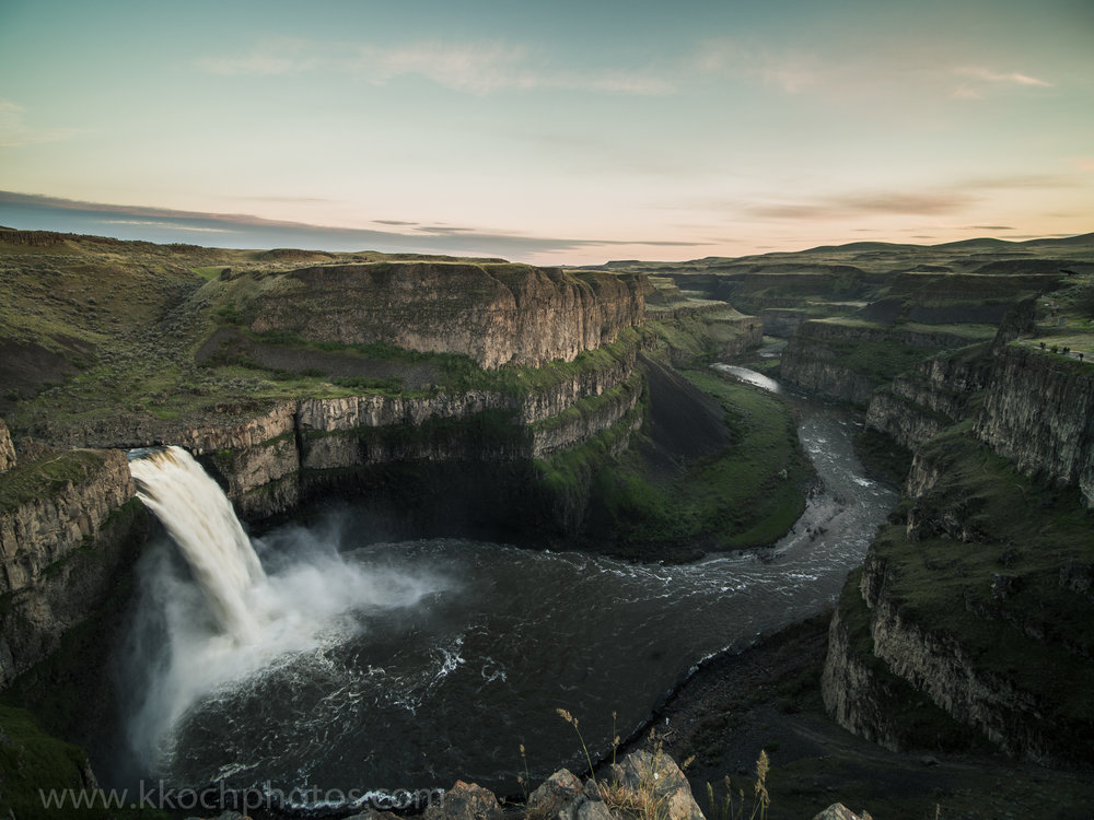 Palouse Falls at sunset. We were allowed to walk around on top, but obviously no to the bottom, as that would interfere with rescuers.