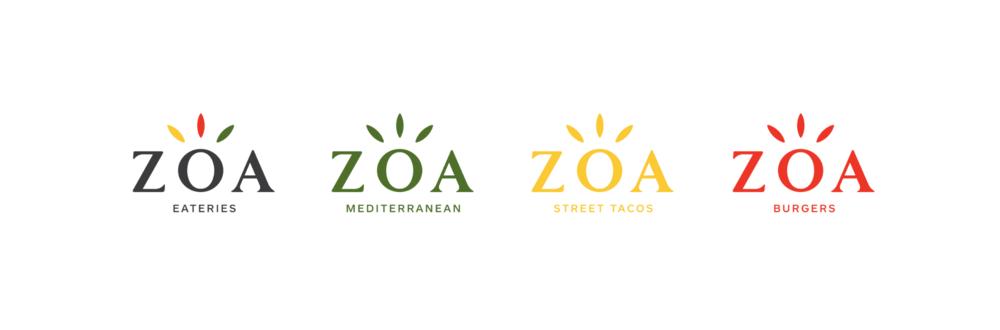 The all new ZOA identity.