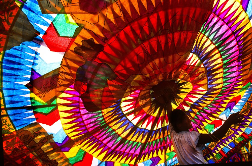 A giant kite ready to fly on All Saints' Day in Guatemala.  Photo by Sherrlyn Borkgren