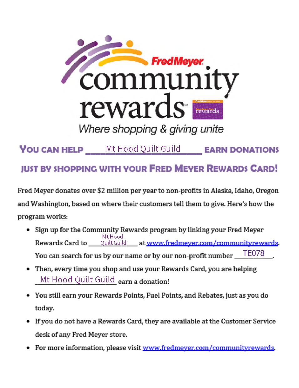 Fred Meyer Community Rewards flyer
