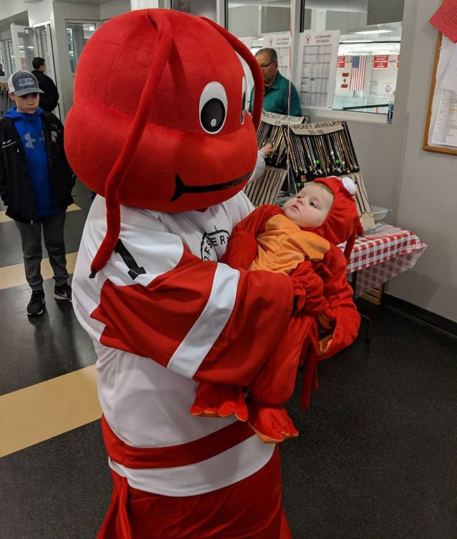 A lobster and his lobster baby. Now this is cute.  #lobsterpothockey
