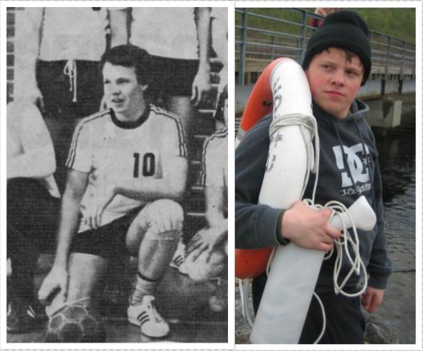Inn med det gamle - Ut med det nye. Tunetspiller og Floerns (venstre) sønn, Simen Andreas Mæhre (høyre)vet at det ikke finnes noen snarvei for å tilegne seg rutine i ballspill.