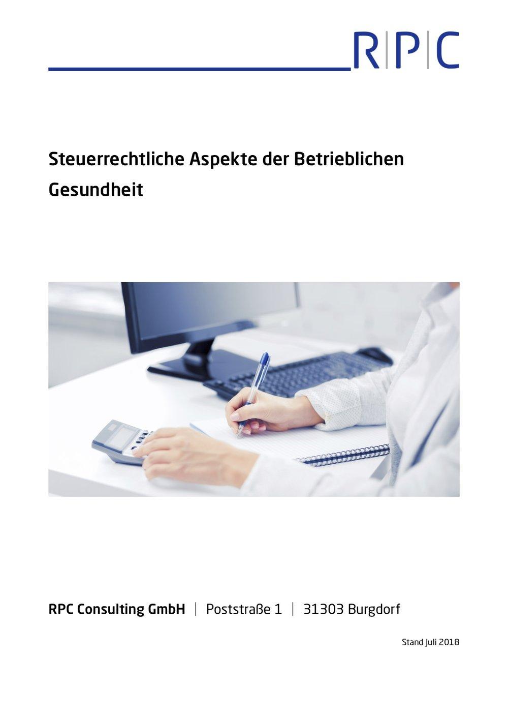 Steuerrecht - Steuerrechtliche Aspekte der Betrieblichen Gesundheit