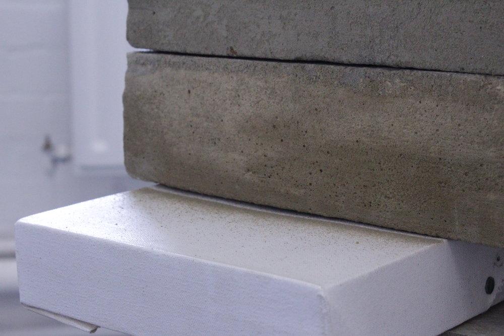 """""""Press"""" 2017 - Concrete, Wood & Oil on Linen"""