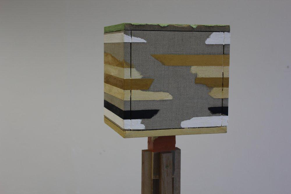 """""""Amalgamation"""" 2017 - Wood, Castor Wheels, Tape & Oil on Linen - Detail"""