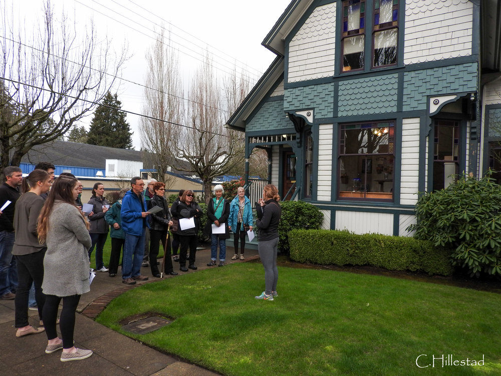 Tours begin at the Cozine house, originally built in 1892, and restored in 1992. tour led by Executive Director, Rebecca Quandt, far right.
