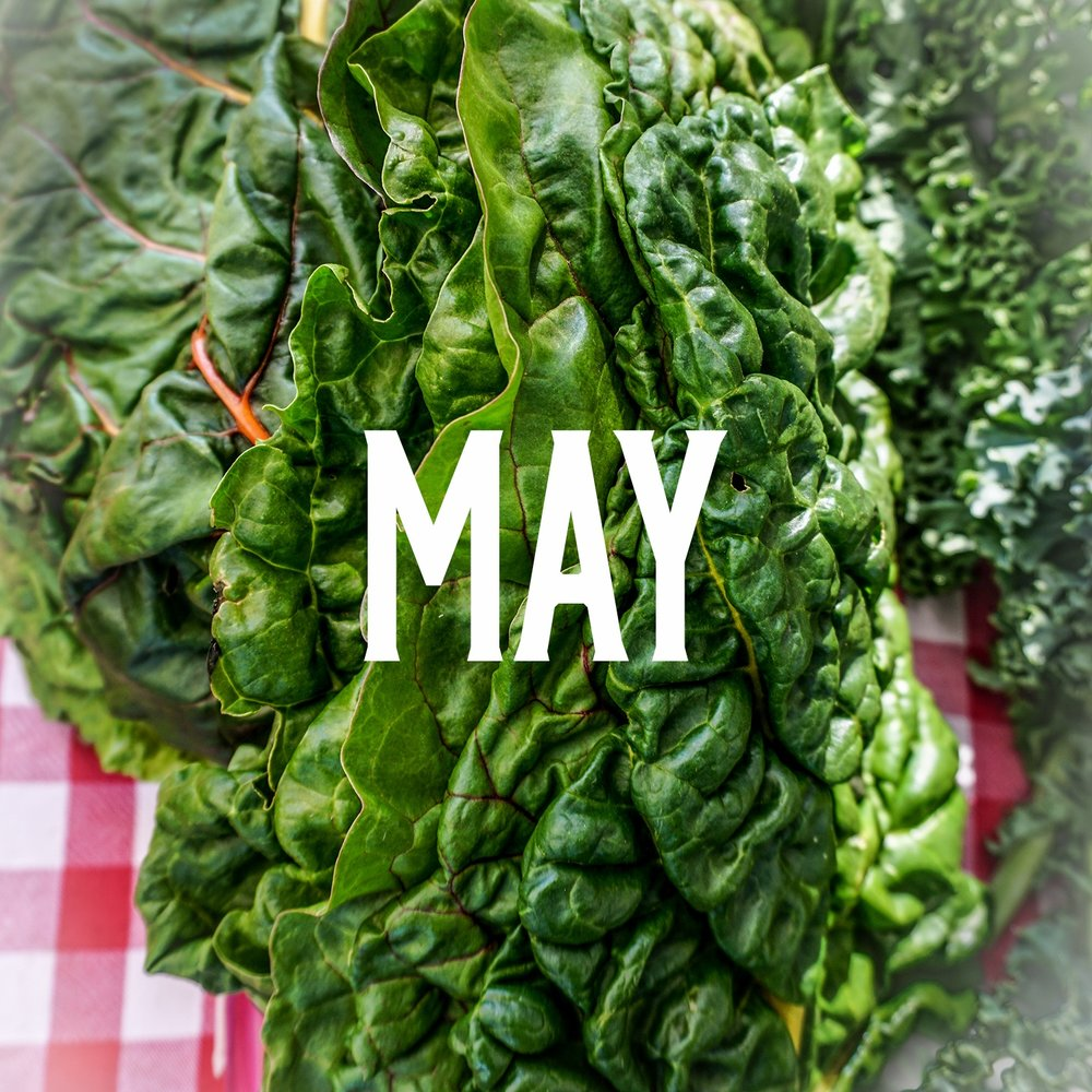 May season - Early season in the month of May, we see lots of healthy deep greens throughout the market.Arugula, Asparagus, Chard, Collard GreensFennel, Scallions, Kale, LettuceMint, Mushrooms, Oregano, ParsleyPotatoes, Radishes, Rhubarb, RosemarySpinach, Squash, Thyme