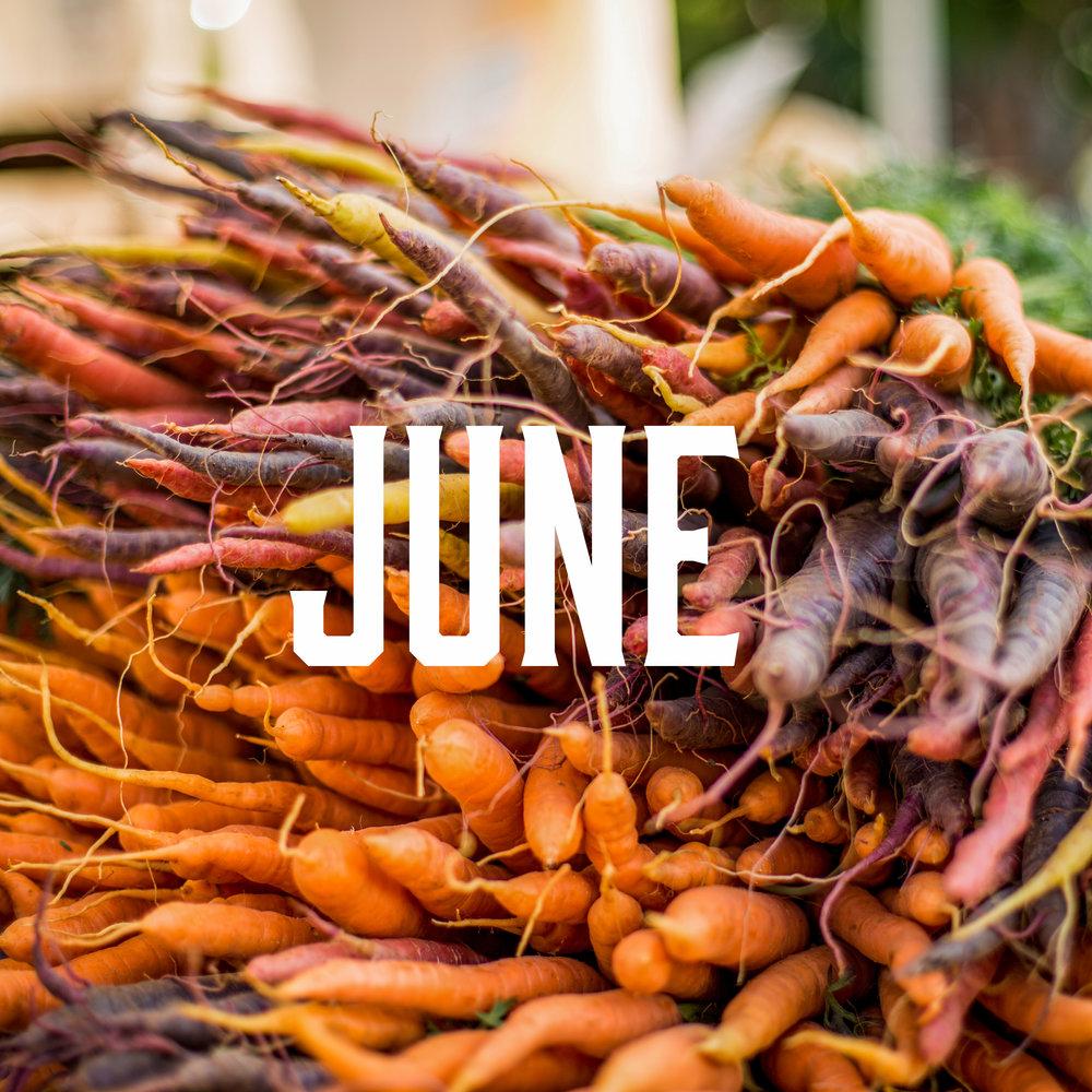 June Season - June brings us lots of hearty veggies and some of our favorite berries!Chard, Cherries, Collard Greens, Fennel,Scallions, Kale, Lettuce, Mint,Mushrooms, Onions, Oregano,Parsley, Peas, Potatoes, Radishes,Rhubarb, Raspberries, Rosemary,Snap Peas, Spinach, Summer Squash,Strawberries, Thyme, Turnips, Zucchini