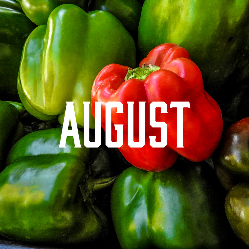 August season - August is packed full with a nutritious rainbow!Apples, Arugula, Basil, Beets, Blackberries, Blueberries, Boysenberries, Broccoli, Cabbage, Cantaloupes, Carrots, Cauliflower, Celery, Chard, Chili Peppers, Collard Greens, Corn, Cucumber, Eggplant, Fennel, Figs, Garlic, Grapes, Green Beans, Scallions, Huckleberries, Kale, Lettuce, Melons, Mint, Mushrooms, Nectarines, Onions, Oregano, Parsley, Pears, Sweet Peppers, Plums, Potatoes, Radishes, Raspberries, Rosemary, Spinach, Summer Squash, Thyme, Tomatoes, Turnips, Watermelon, Zucchini