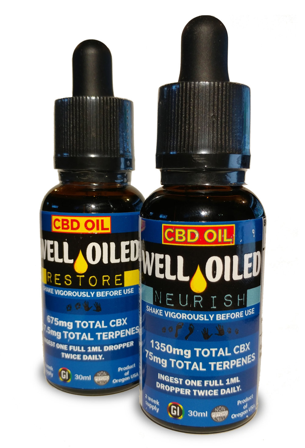 Full Spectrum Whole Flower Essential Oils - Well Oiled are a producer, processor, and formulator of whole flower industrial hemp (IH) strain specific essential oil formulations made from full spectrum whole plant (IH) CBD rich resins of organically grown hemp under 2018 licensing under Oregon dept of Agriculture OAR 603-048-2310 and rigorously tested for purity, potency, heavy metals, residual solvents, pesticides, and microbial contaminants at Steep Hill laboratories.