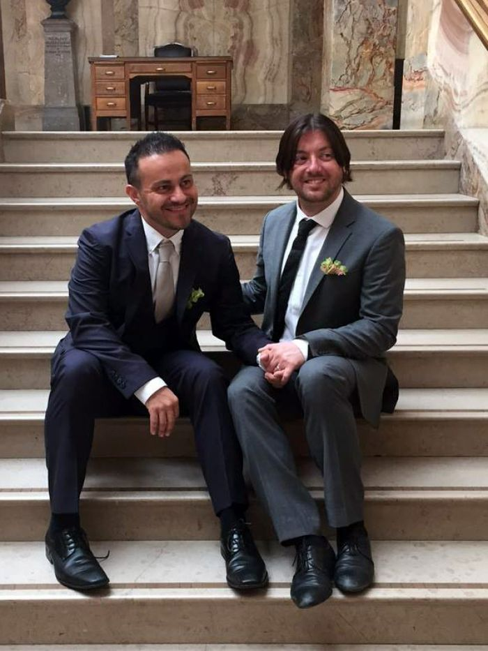 Photo of David and Marco Bulmer-Rizzi at their wedding in the UK