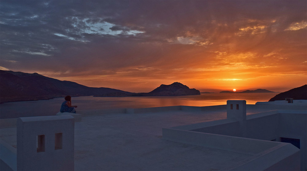 Sunset on the roof of our hotel on Amorgos... Also a great spot for yoga!