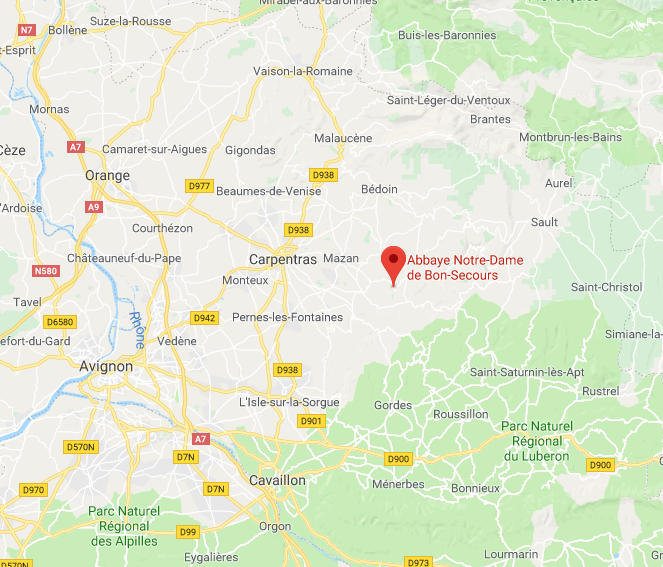 Domaine Saint Jacques is nearby the abbey indicated by the pin, between the villages of Méthamis and Blauvac. The address is 510 Chemin du Devencet, Blauvac.
