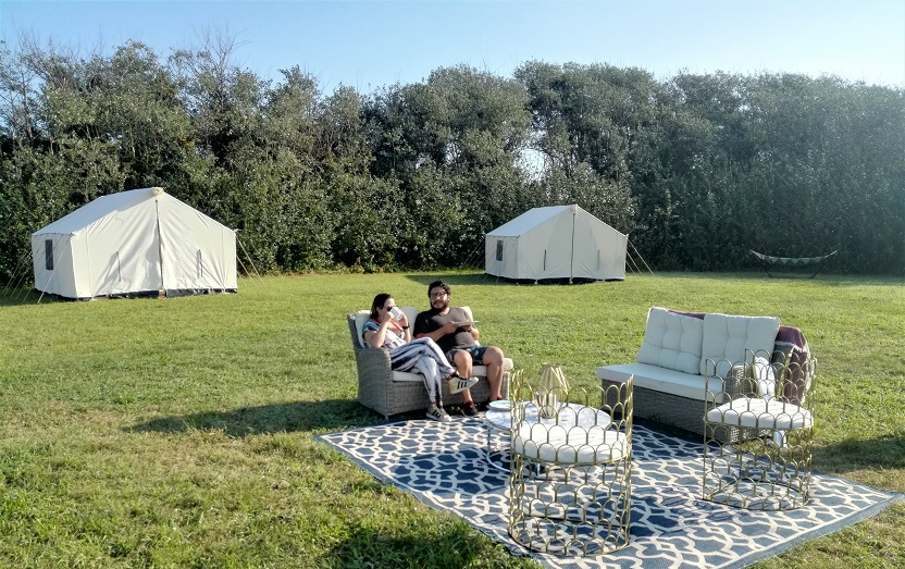 Terra Glamping outdoor lounge at Fort Tilden camp in the Rockaways, NYC