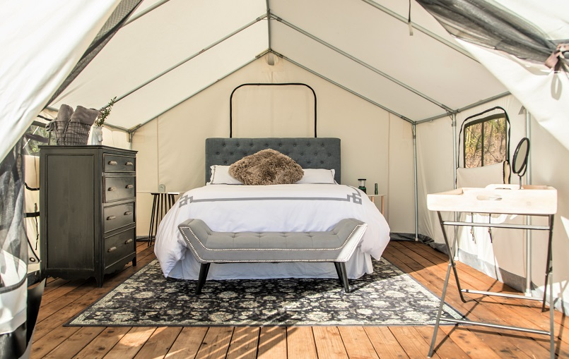Terra Glamping Tent Interior (credit: Kristen Kellogg)