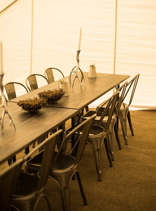 Dining Tent-  Tables, chairs, serving carts, plateware and cutlery; seating for up to 24