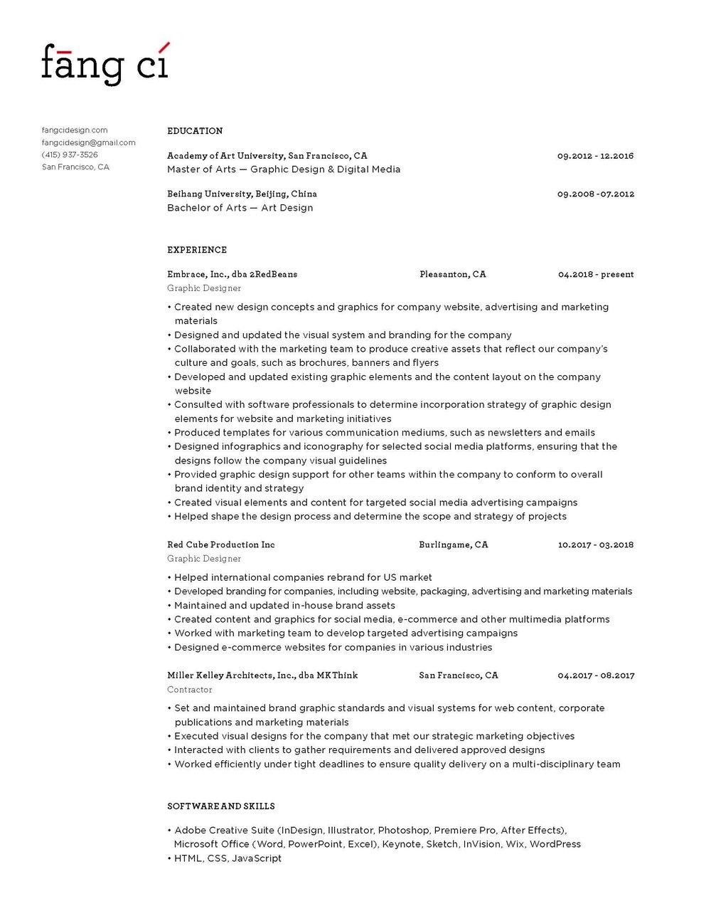 Fang Ci's Resume
