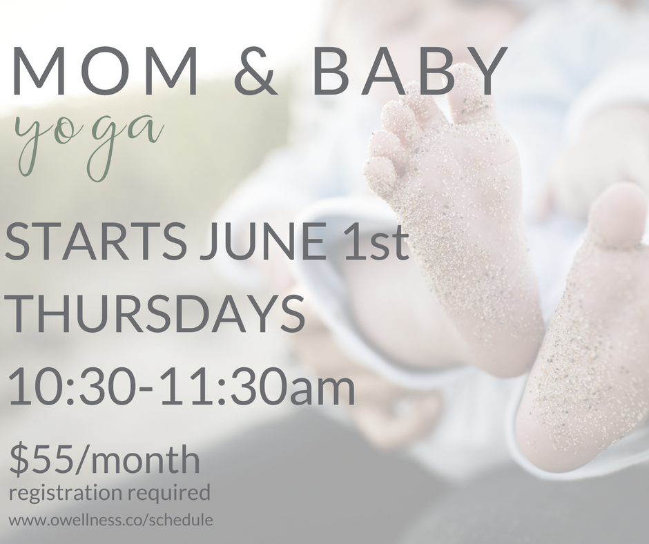 A perfect class for busy mothers. allowing mom to enjoy yoga and introduce baby to the practice all while promoting mom and baby bonding. the yoga portion of class for mom is focused on her post-partum body and includes poses that are interactive with baby. practicing yoga with your baby helps with development, promotes bonding, and is a great way to meet other moms!