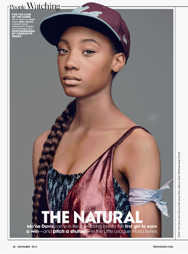 Interview with Mo'ne Davis, Teen Vogue, November 2014