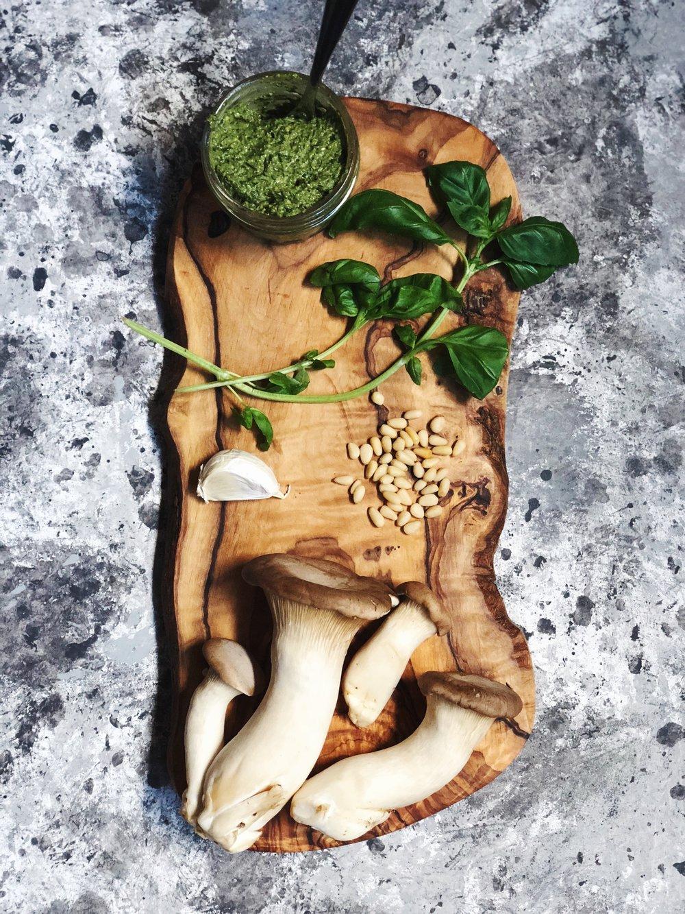 Vegan King Oyster Mushroom Scallops Over Simple Gluten Free Pesto Pasta