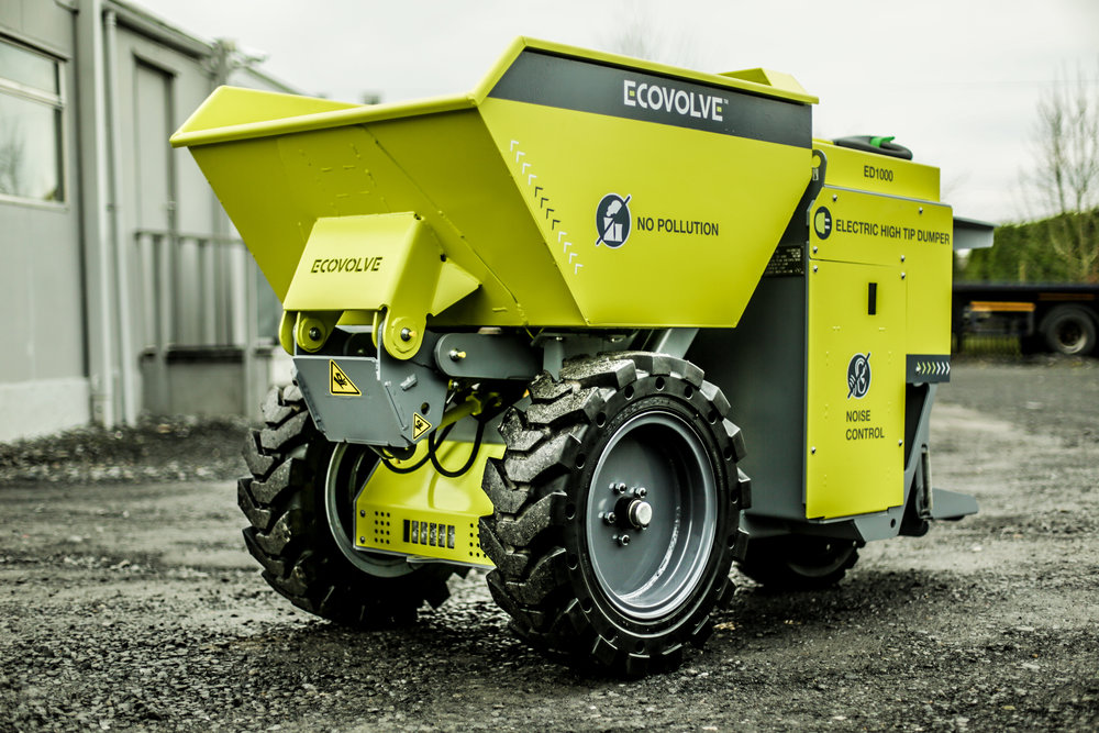 ECOVOLVE ED1000 ELECTRIC DUMP CART Angled Side View