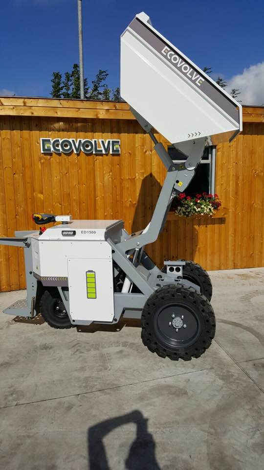 Mercedes white ECOVOLVE ED1500 ELECTRIC DUMP CART with raised load