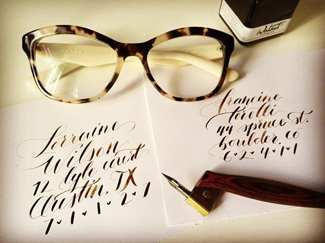 Envelop addressing fun. ... #calligraphy #calligraphynewbie #leftycalligraphy #walnutink #brause511 #handlettered #handlettering #iloveletters #calligrafriends #lettering #handmade #scriptlettering #script #artoftype #goodtype #ilovetype #moderncalligraphy #letterlover