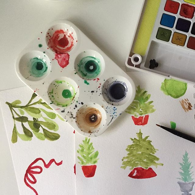 Some more watercolor pack elements.  #holidays #christmas #christmasspirit #prettythings #watercolor #mistletoe #christmastree #christmas2016 #art #artwork #art🎨 #painting #handdrawn #handmade #illustration #diy