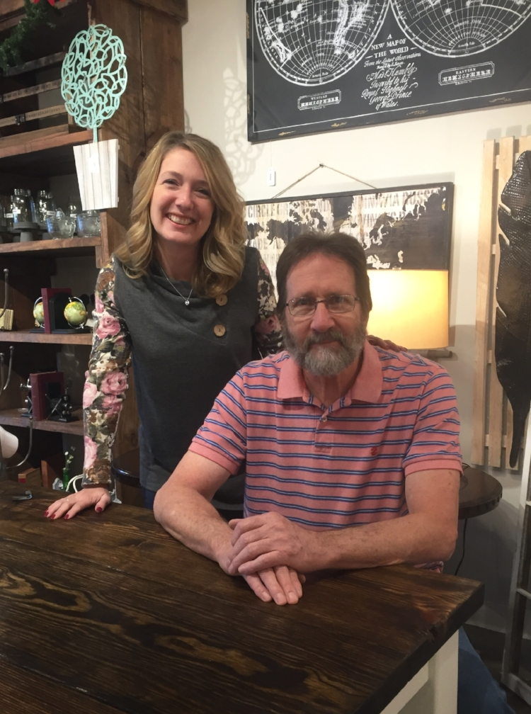 Father-Daughter Team: John Konieczko of Cottage Street & Kim Bobb of The Peach Orchard sitting at one of John's handmade farm tables from their signature Farmhouse Collection.