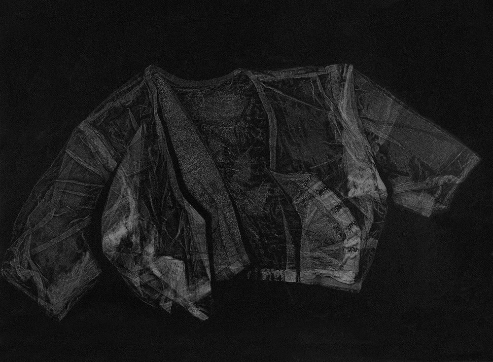 Blouse , 2016, relief monoprint, offset ink on Canson Black Mie Tints Pastel Noir 160gsm, 50.4 x 65 cm